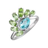 Кольцо с хризолитами и ситаллом из серебра