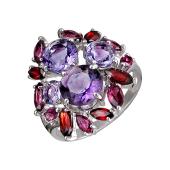 Кольцо с гранатами, родолитами и ситаллами, серебро
