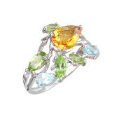Кольцо Веточка с топазом, хризолитом и ситаллом, серебро