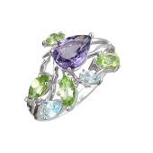 Кольцо с ситаллом, топазами и хризолитами, серебро