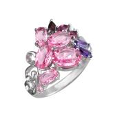 Кольцо с аметистами, гранатами, родолитоами и ситаллами, серебро