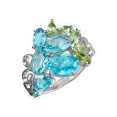 Кольцо с ситаллами, султанитом и хризолитом, серебро
