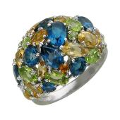 Кольцо с хризолитами, топазами, цитринами и топазом Лондон, серебро
