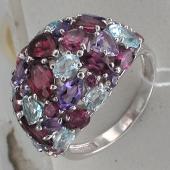 Кольцо Цветочная Поляна с аметистами, родолитом, топазом, серебро