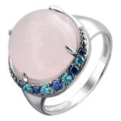 Кольцо с розовым кварцем и фианитами из серебра 925 пробы