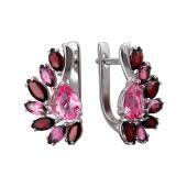 Серьги с гранатом,  родолитом и двумя розовыми ситаллами, серебро