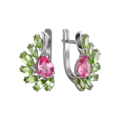 Серьги с хризолитом,  искусственным султанитом и розовым ситаллом, серебро