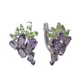 Серьги Виноградная гроздь с аметистами, султанитом, хризолитом и ситаллами, серебро