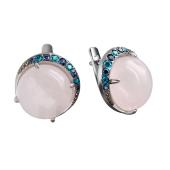 Серьги с розовым кварцем и фианитами из серебра 925 пробы