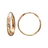 Серьги-кольца Конго с алмазными гранями, красное золото 20мм