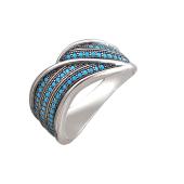 Кольцо широкое с искусственной бирюзой, серебро