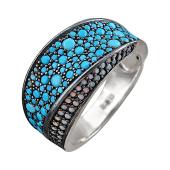 Кольцо широкое с искусственной бирюзой и искусственной слоновой костью, серебро