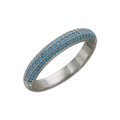 Кольцо Дорожка с нанокристаллом бирюза, серебро
