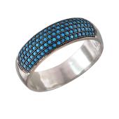 Кольцо с искусственной бирюзой и чернением, серебро