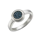 Кольцо Круг с нанокристаллом бирюза, серебро с чернением