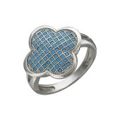 Кольцо Четырехлистник с нанокристаллом бирюза, серебро