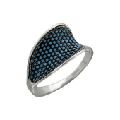 Кольцо Цунами с нанокристаллами бирюза, серебро с чернением