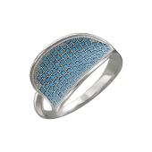 Кольцо Волна с нанокристаллом бирюза, серебро