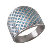 Кольцо Корзинка широкое с нанокристаллом бирюзой, серебро