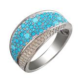Кольцо с россыпью бирюзы и слоновой кости, серебро