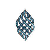 Кулон с орнаментом с искусственной бирюзой, серебро с чернением