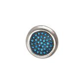 Подвеска круглая с искусственной бирюзой, серебро с чернением
