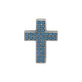 Крест без распятия с искусственной бирюзой, серебро