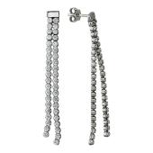 Серьги-пусеты длинные с двумя дорожками фианитов, серебро