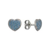 Серьги-пусеты Сердечки с искусственной бирюзой, серебро