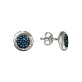 Серьги-пусеты круглые с искусственной бирюзой, серебро