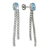 Серьги-пусеты длинные с топазами и фианитами, серебро