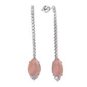 Серьги длинные с розовым ониксом и фианитами, серебро
