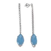 Серьги длинные с голубым ониксом и фианитами, серебро
