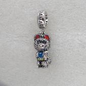 Подвеска-Шарм Олимийский мишка с эмалью, серебро с чернением