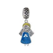 Кулон шарм Ангелочек Купидон с голубой эмалью, серебро