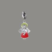 Кулон шарм Ангелочек Купидон с эмалью, серебро