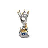 Подвеска-Шарм Сказочный замок с эмалью, корона, серебро с позолотой