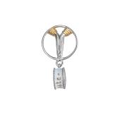 Подвеска-шарм с подвесом с белой эмалью, серебро с позолотой