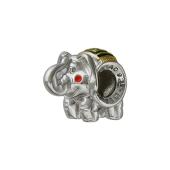 Кулон шарм Слон с эмалью и позолотой, серебро