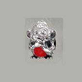 Кулон-шарм Обезьянка с красной эмалью (без эмали), серебро