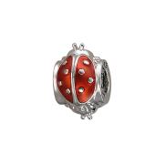 Подвеска-шарм Божья коровка с красной эмалью, серебро