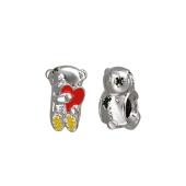 Подвеска-шарм Мишка с сердцем и цветной эмалью, серебро