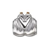 Подвеска-шарм Два лебедя, серебро с позолотой