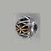 Кулон-шарм Корсет, серебро с позолотой