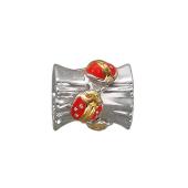 Подвеска-шарм Божьи Коровки с красной эмалью, серебро с позолотой