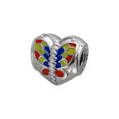 Подвеска-шарм Сердце с бабочкой и эмалью, серебро