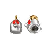 Подвеска-шарм Angry Birds с эмалью, серебро с позолотой