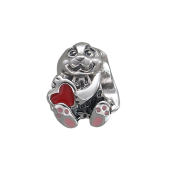 Подвеска-шарм Заяц с сердцем с эмалью, серебро