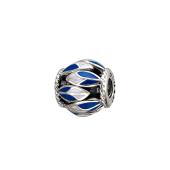 Подвеска-шарм Перо с белой и синей эмалью, серебро