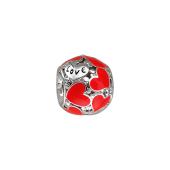 Подвеска-шарм Сердце с красной эмалью, серебро
